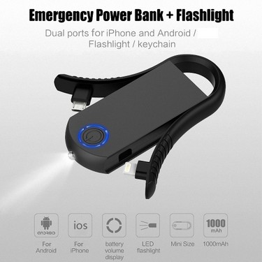 Power Bank + Flashlight Outdoor Emergency Charger Keyring Built-in Interchangeable Lightning Cable and Micro USB Cable 1000mAh Battery