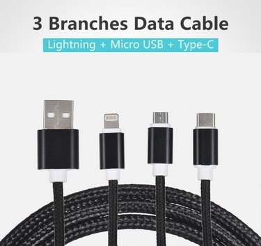 3.3Ft USB 2.0 to Micro USB + Type C + Lightning Charging Cable Sync Data Line Cord for iPhone iPad Samsung