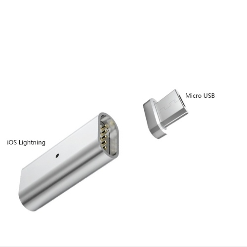 Magnetic Charging Cable Adapter iOS Lightning 8-pin Female for Micro USB 5-pin Male Data Line Converter