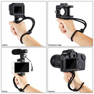 PULUZ Multi-function Bracket Handheld ABS Phone Holder Handle With Cold Shoe Base & Wrist Strap for Smartphone GoPro Camera