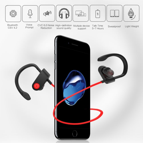 Fozento FT1 In-ear Wireless Sport Stereo BT Headphone Headset Running Earphone Hands-free Pair/Off/On Receive/Hang Music Play/Pause Volume +/- for iPhone 7 Plus Samsung S8
