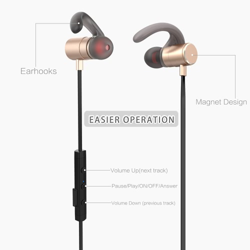 Fozento FT4 BT Earphone Wireless Business Sport Stereo Headphone Running Headset  Hands-free Pair/off/on Receive/Hang Music Play/Pause Volume +/- for iPhone 7 Plus Samsung S8+