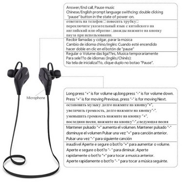 QY7S Business Sport Earphone In-ear Wireless Stereo BT4.1 Running Headphone Headset Hands-free Pair/Off/On Receive/Hang Music Play/Pause Volume +/- for iPhone X Samsung S8+ Note 8