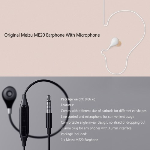 Meizu ME20 Earphone with Mic Stereo Sound In-ear On-cord Remote Control 3.5mm Earpiece Earbuds