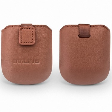 QIALINO Genuine Leather Protective Case for Airpods Head Layer Cowhide Hand-made Soft Magnetic Absorption Design Case