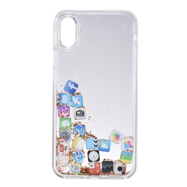 Quicksand APP Pattern Phone Case for iPhone X Bling Cute Protective Phone Case Anti-dust Anti-scratch