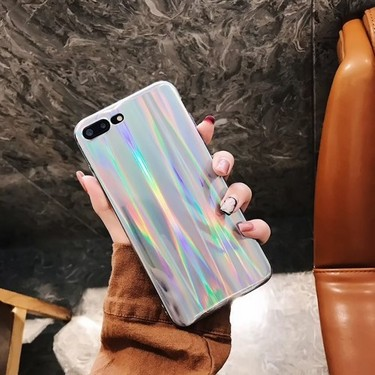 Colorful Laser Phone Case for iPhone 7 Plus iPhone 8 Plus Bling Rainbow Protective Phone Cover Soft TPU Shell Anti-scratch Dirt-resistant