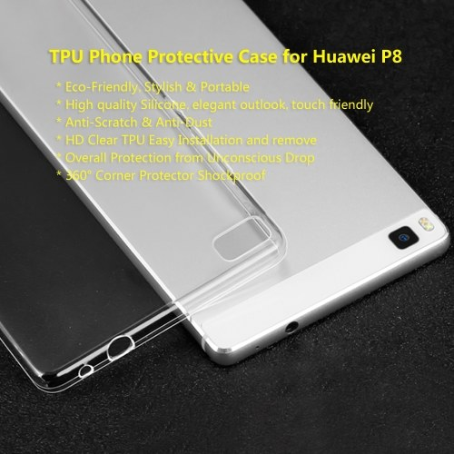 TPU Phone Protective Case for Huawei P8 Cover 5 Inches Eco-friendly Stylish Portable Anti-scratch Anti-dust Durable