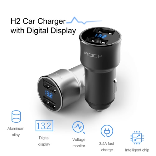 ROCK H2 Dual USB Car Charger with Digital LED Display 5V/3.4A Aluminium Alloy Fast Charging Voltage Monitoring for iPhone Samsung