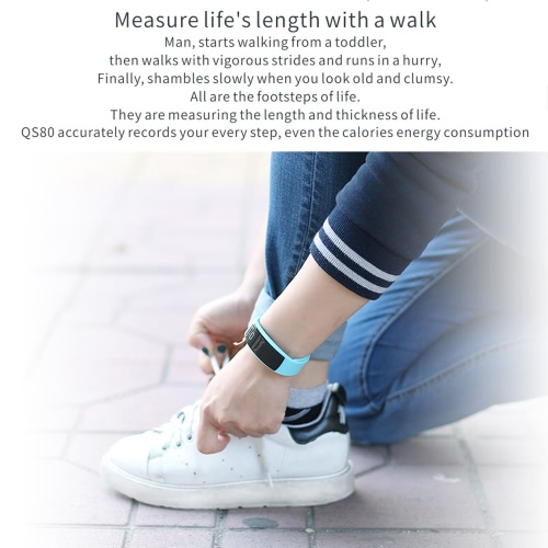 QS 80 Heart Rate Smart Band BT Sport Watch Wristband Bracelet 0.42inch HD OLED Display Call Notification Pedometer Alarm Sleep Monitor Blood Pressure Test for iPhone 6 6S 6 Plus 6S Plus 7 Plus Samsung S6 S7 edge S8 Android iOS Smartphone