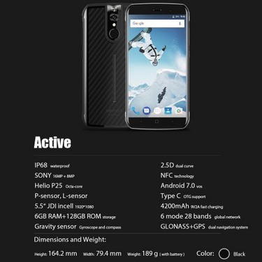 Vernee Active IP68 4G Smartphone 5.5 Inches FHD 6GB+128GB