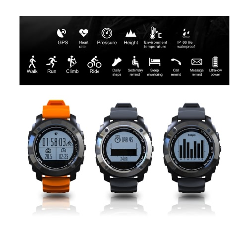 S928 GPS Heart Rate Smart BT Sport Watch Wristband Bracelet Call Notification Pedometer Alarm Anti-lost Sleep Monitor Sport Modes Air Pressure for iPhone 6 6S 6 Plus 6S Plus 7 Plus Samsung S6 S7 edge Android 4.3 iOS 8.0 or above