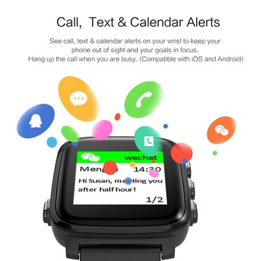 SMA Q2 Smart Watch Memory LCD Display 3ATM Water Resistance Heart Rate Detection Connected GPS Tracking Call Text & Calender Alerts 200mAh Battery