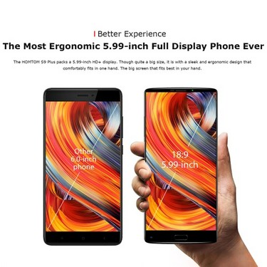 HOMTOM S9 Plus 5.99-inch 18:9 Bezel-less Mobile Phone 4G-LTE Fingerprint Smartphone 4GB RAM 64GB ROM