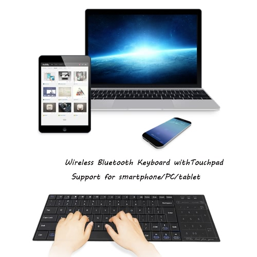 Ultra Slim Wireless BT Keyboard with Multi-touch Touchpad for iPhone/iPad Pro/MacBook/PC/Laptop/Tablet/Smart Phone