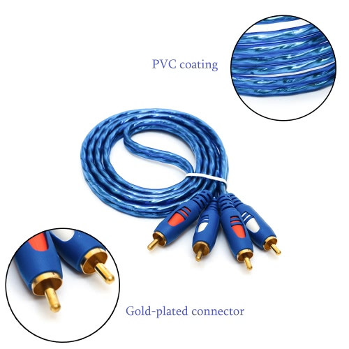 2RCA Male to 2RCA Male Left & Right Stereo 1.5m/3m/5m Audio Cable Cord Wire AV Cable with Copper Core Gold-plated Connector for CD Player TV DVD PC