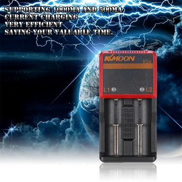 KKmoon Compact Portable 3.65V Li-ion 1.2V NIMH NICD 18650 Dual 2 Slots Multifunctional Smart Battery Charger with Universal Car Charger LED Indicator Supports AC DC Voltage for Universal AA/AAA/26650/18650/18490/17335/16340/10440 Rechargeable Battery