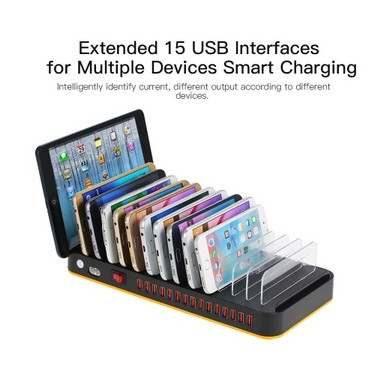 80W 15-Port Adjustable Dividers USB Charger Smart Charging Station Dock Multi Device Desktop Organizer Hub Stand with Intelligent IC Auto Detect Tech