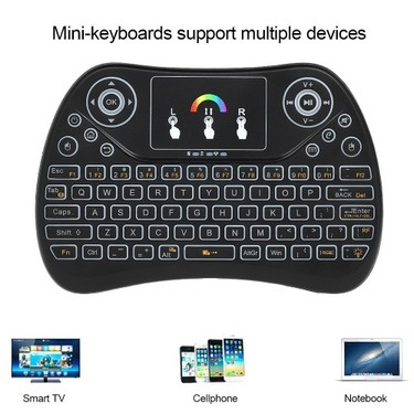 Portable 2.4G RGB Wireless Keyboard Touchpad Backlit Mini Keyboard with USB Receiver Plug and Play for Android TV Box Tablet Black