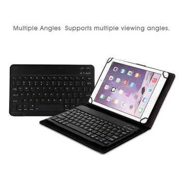 Wireless BT Keyboard for 8in to 8.9in BT Tablets 78 Keys Keyboard with Leather Case for IOS Android Windows Black