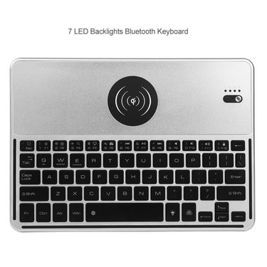 2038 BT Wireless Keyboard 7 LED Backlights BT Keyboard with Wireless Charging Function for IOS Android Windows Black