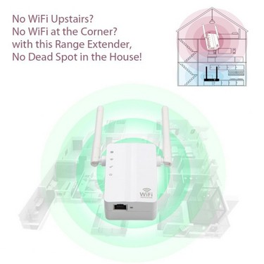 WiFi Router Range Extender 300Mbps Portable Multi-function High Flexibility Signal Booster Wireless Network Repeater (E Plug)