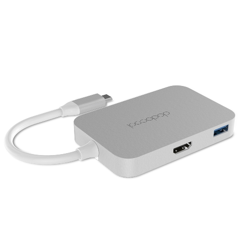 dodocool Aluminum Alloy USB-C to 4-port USB 3.0 Hub with HD Output Port Convert USB Type-C Port into 4 SuperSpeed USB 3.0 Ports and 1 4K HD Output Port for MacBook / MacBook Pro / Google Chromebook Pixel and More Silver