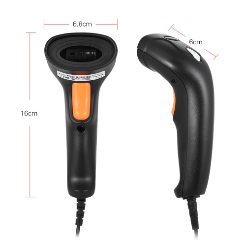 USB Wired Handheld LED Barcode Scanner Bar Code Reader for Supermarket Library Express Company Retail Store Warehouse