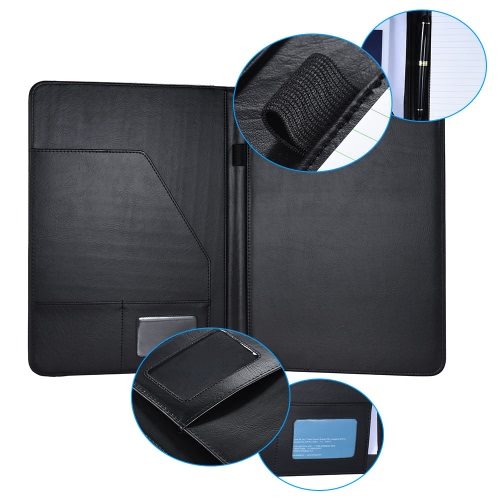 Multifunctional Business Portfolio Padfolio Folder Document Case Organizer A4 PU Leather with Business Card Holder Memo Note Pad