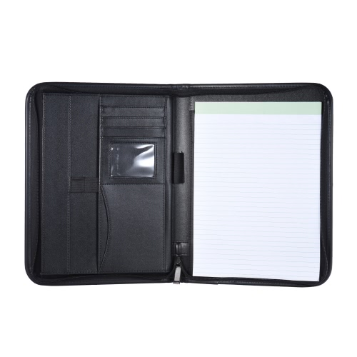 Multifunctional Professional Business Portfolio Padfolio Folder Document Case Organizer A4 PU Leather Zippered Closure with Business Card Holder Memo Note Pad