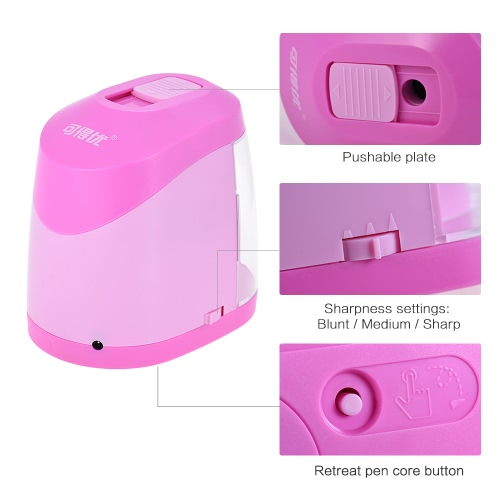 Automatic Electric Pencil Sharpener Battery or USB Powered with 3 Graphite Point Tip Modes for Home School Classroom Student Artist Crafts Kids Blue