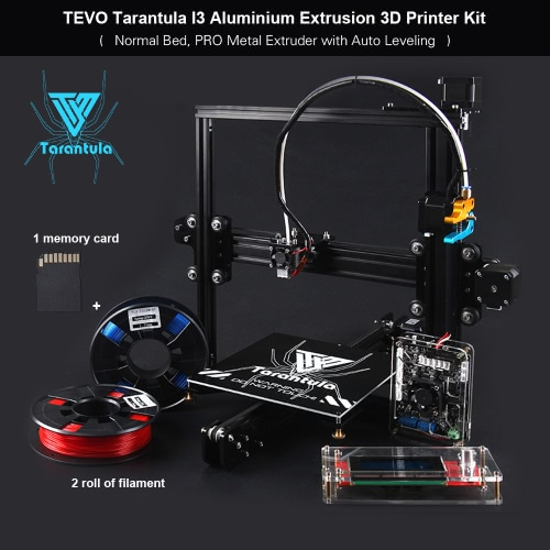 TEVO Tarantula I3 Aluminium Extrusion 3D Printer Kit 3D Printing 2 Rolls Filament 8GB Memory Card As Gift (Normal Bed, PRO Metal Extruder with Auto Leveling)