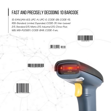 Wired USB Barcode Scanner Handheld Bar-code Scanning Reader for Supermarket Library Express Company Retail Store Warehouse