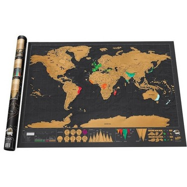 Scratch World Map Travel Edition Poster Copper Foil Wall Sticker 42 * 30cm
