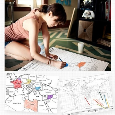 Scratch World Map Travel Edition Poster Copper Foil Wall Sticker 105 * 76cm