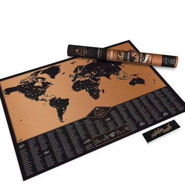 Scratch World Map Travel Edition Poster Copper Foil Wall Sticker 81 * 59cm