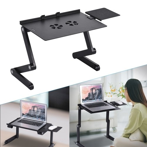 Foldable Laptop Table Stand Vented Computer Desk Bed Lap Tray 360 Degree Adjustable with Mouse Pad Cooling Fans
