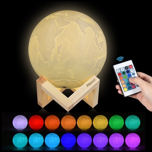 Aibecy 8cm/3.1in 3D Printed Earth Lamp LED Li...