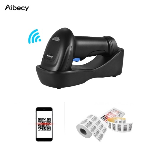 Aibecy WM3L 433MHz Wireless 1D 2D Auto Image Barcode Scanner Handheld QR code PDF417 Bar Code Reader 200m/656ft Range 1300t/s Fast Speed with Cradle for Mobile Payment Supermarket Store Warehouse