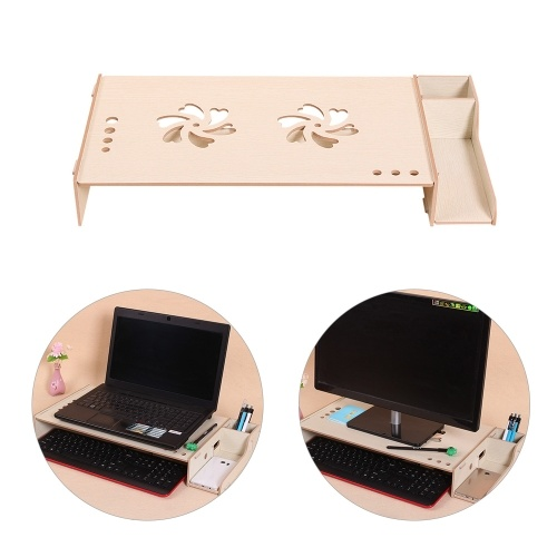 Wood Computer Monitor Stand Riser Laptop Shelf Desk Organizer with Keyboard Storage Adjustable Height for Office School