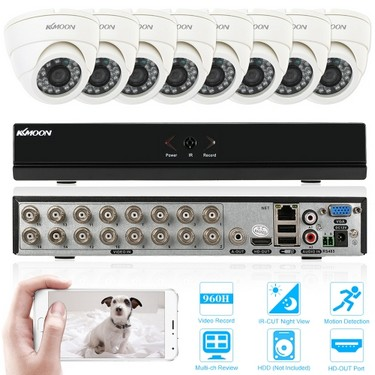 KKmoon 16ch 960H/D1 800TVL CCTV Surveillance DVR Security System P2P Cloud Onvif Network Digital Video Recorder + 8*Indoor Camera + 8*60ft Cable