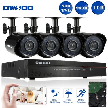 OWSOO 4CH Channel Full 960H/D1 800TVL CCTV Surveillance DVR Security System HD P2P Cloud Network Digital Video Recorder + 1TB Hard Disk + 4* Outdoor/Indoor Infrared Bullet Camera + 4*60ft Cable support IR-CUT Night Vision Weatherproof Plug and Play Android/iOS APP PC CMS Browser View Motion Detection Email Alarm