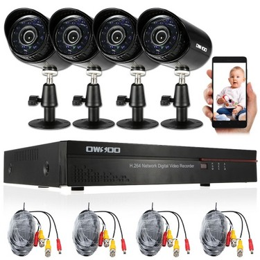 OWSOO 4CH Channel Full 960H/D1 800TVL CCTV Surveillance DVR Security System
