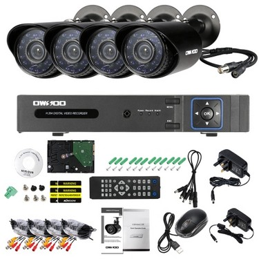 OWSOO 4CH H.264 Full 1080N DVR +4*1500TVL Waterproof CCTV Bullet Camera+ 4*60ft Surveillance Cable + 1TB Seagate Hard Drive