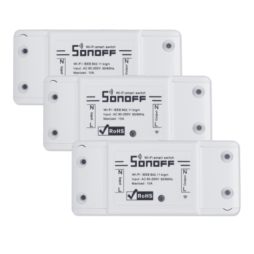 SONOFF Basic Wifi Switch Works with Alexa for Google Home 3PCS