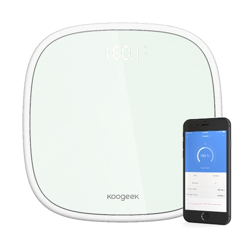 Koogeek Smart Wireless BT 4.0 Digital Body Weight Scale 16 Users Recognition with Ultra Clear Glass LED Display App Weight Tracking Set Target 440lb / 200kg Weight Capacity White