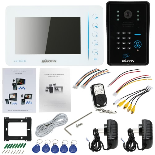"""KKmoon 7"""" Wired Video Door Phone System Touch Button Visual Intercom Doorbell with 1*800×480 Indoor Monitor + 1*700TVL Outdoor Camera + 5*RFID Card + 1*Remote Control support ID Card/Code/Remote Unlock Infrared Night View Rainproof 4ch Video Input and 1ch Video Output for Door Entry Access Control"""