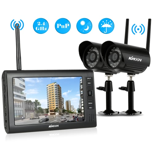 KKmoon 4CH Wireless WiFi Camera System 2.4GHz 7″ TFT Digital LCD Display Monitor