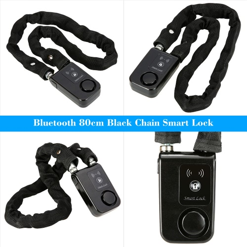 BT 80cm Black Chain Smart Lock Anti Theft Alarm Keyless Phone APP Control Lock