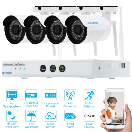 szsinocam 4CH Channel HD 720P WiFi NVR Network Video Recorder + 4pcs Megapixels Wireless WiFi Weatherproof Outdoor Bullet IP Camera support Plug and Play HD P2P Cloud IR-CUT Filter Infrared Night Vision Android/iOS APP Motion Detection Email Alarm for CCTV Security Surveillance System